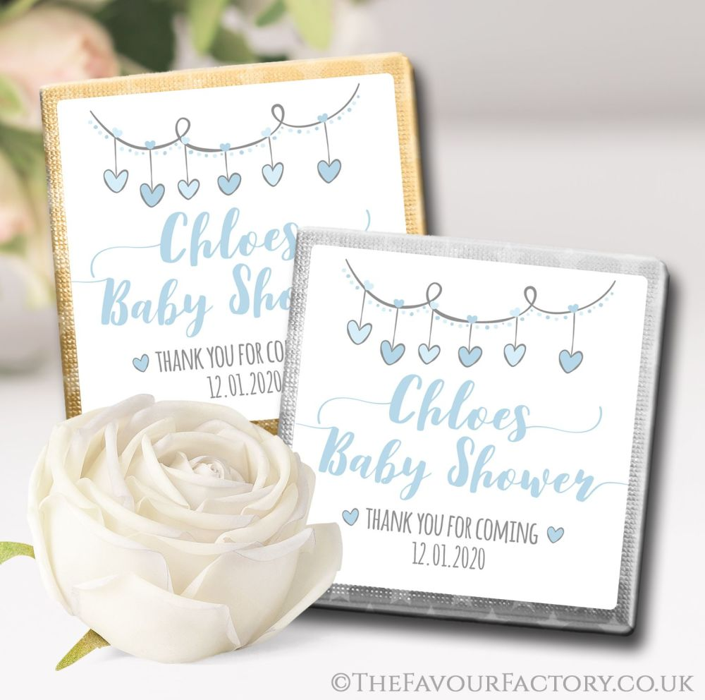 Personalised Baby shower Chocolates Blue Hearts Garland
