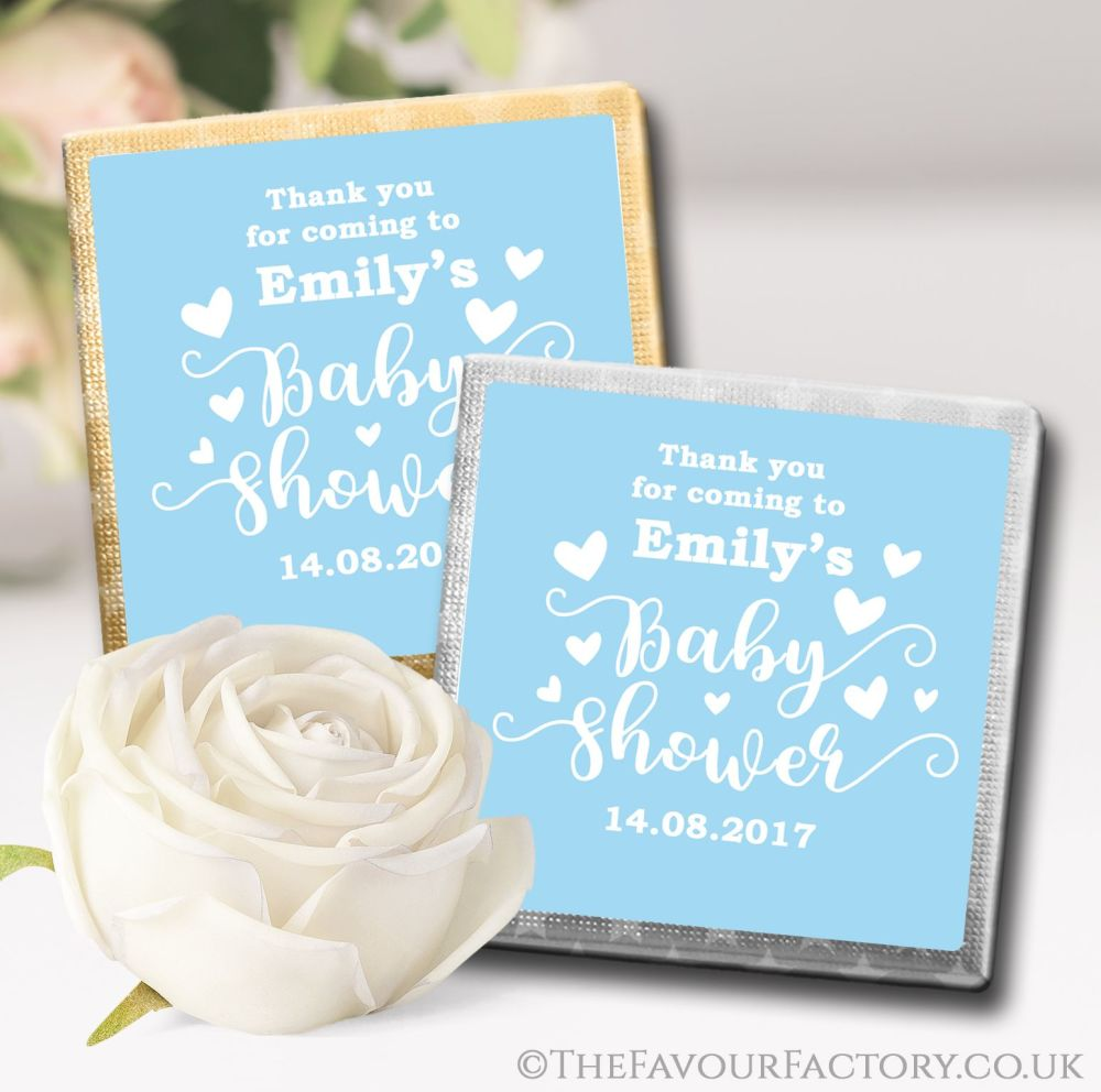 Personalised Baby Shower Chocolates Favours Blue Love Hearts