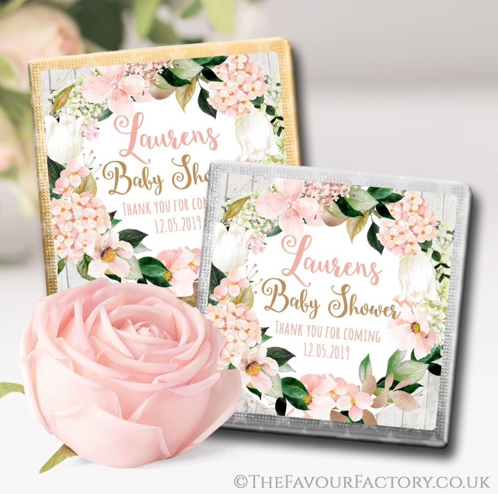 Baby Shower Chocolates Blush Hydrangeas x10