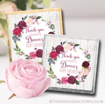 Baby Shower Chocolates Favours Blush Burgundy Floral Wreath x10