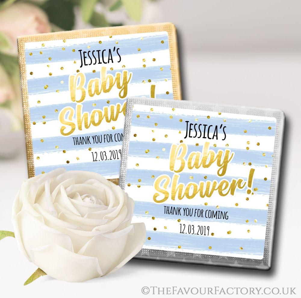 Baby Shower Chocolates Blue Confetti Stripes x10