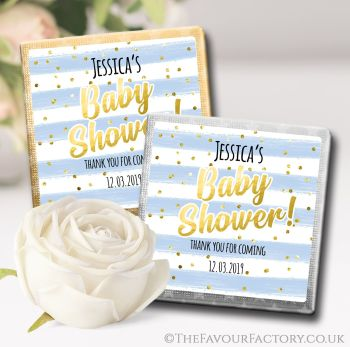 Baby Shower Chocolates Favours Confetti Stripes Blue x10