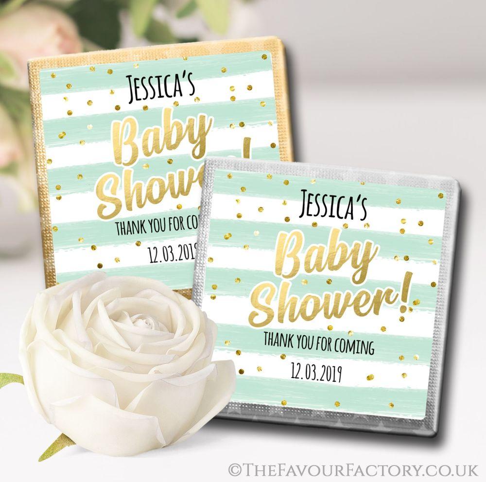 Baby Shower Chocolates Mint Confetti Stripes x10