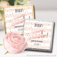 Baby Shower Chocolates Rose Gold Confetti stripes x10