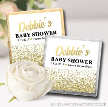 Baby Shower Chocolates Favours Gold Glitter Confetti x10