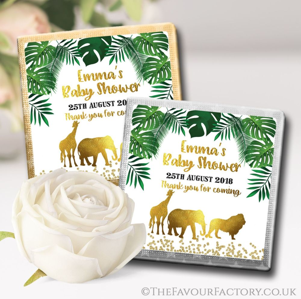 Personalised Baby Shower Chocolates Favours Gold Safari Animals