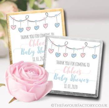 Baby Shower Chocolates Favours Hearts Garland Pink & Blue x10