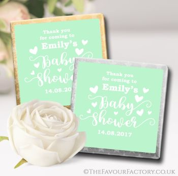 Baby Shower Chocolates Favours Love Hearts Green x10
