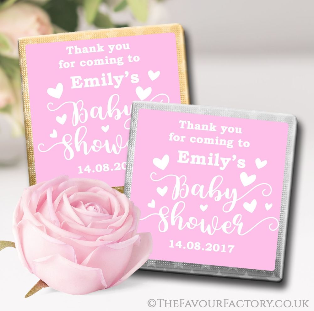Personalised Baby Shower Chocolates Favours Pink Hearts