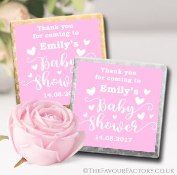 Baby Shower Chocolates Favours Love Hearts Pink x10