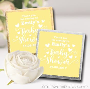 Baby Shower Chocolates Favours Love Hearts Yellow x10