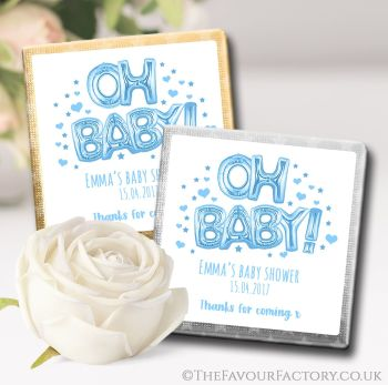 Baby Shower Chocolates Favours Oh Baby Blue x10