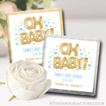 Baby Shower Chocolates Favours Oh Baby Gold & Blue x10