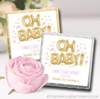 Baby Shower Chocolates Favours Oh Baby Gold & Pink x10