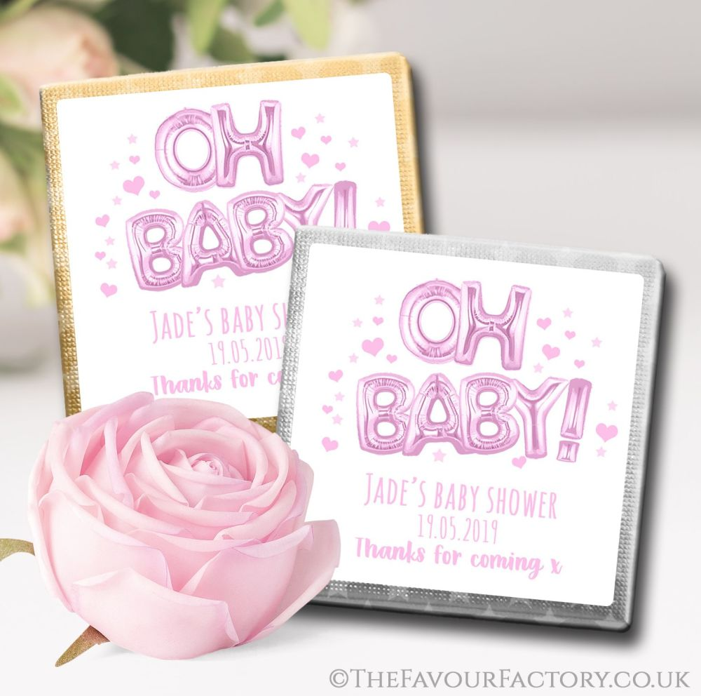 Baby Shower Chocolates Pink Oh Baby Balloons x10