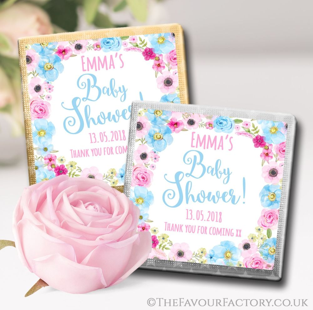 Personalised Baby Shower Chocolates Favours Blue Pink Floral Wreath