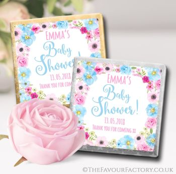 Baby Shower Chocolates Favours Floral Wreath Pink & Blue x10