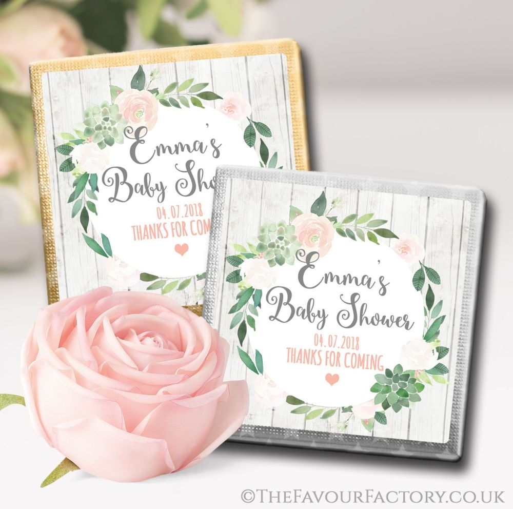 Personalised Baby Shower Chocolates Favours Succulents