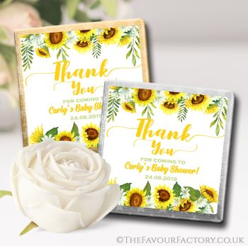 Baby Shower Chocolates Favours Sunflowers x10