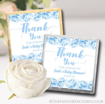 Baby Shower Chocolates Favours Thank You Florals Blue x10