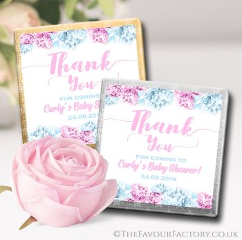Baby Shower Chocolates Favours Thank You Flowers Pink & Blue x10