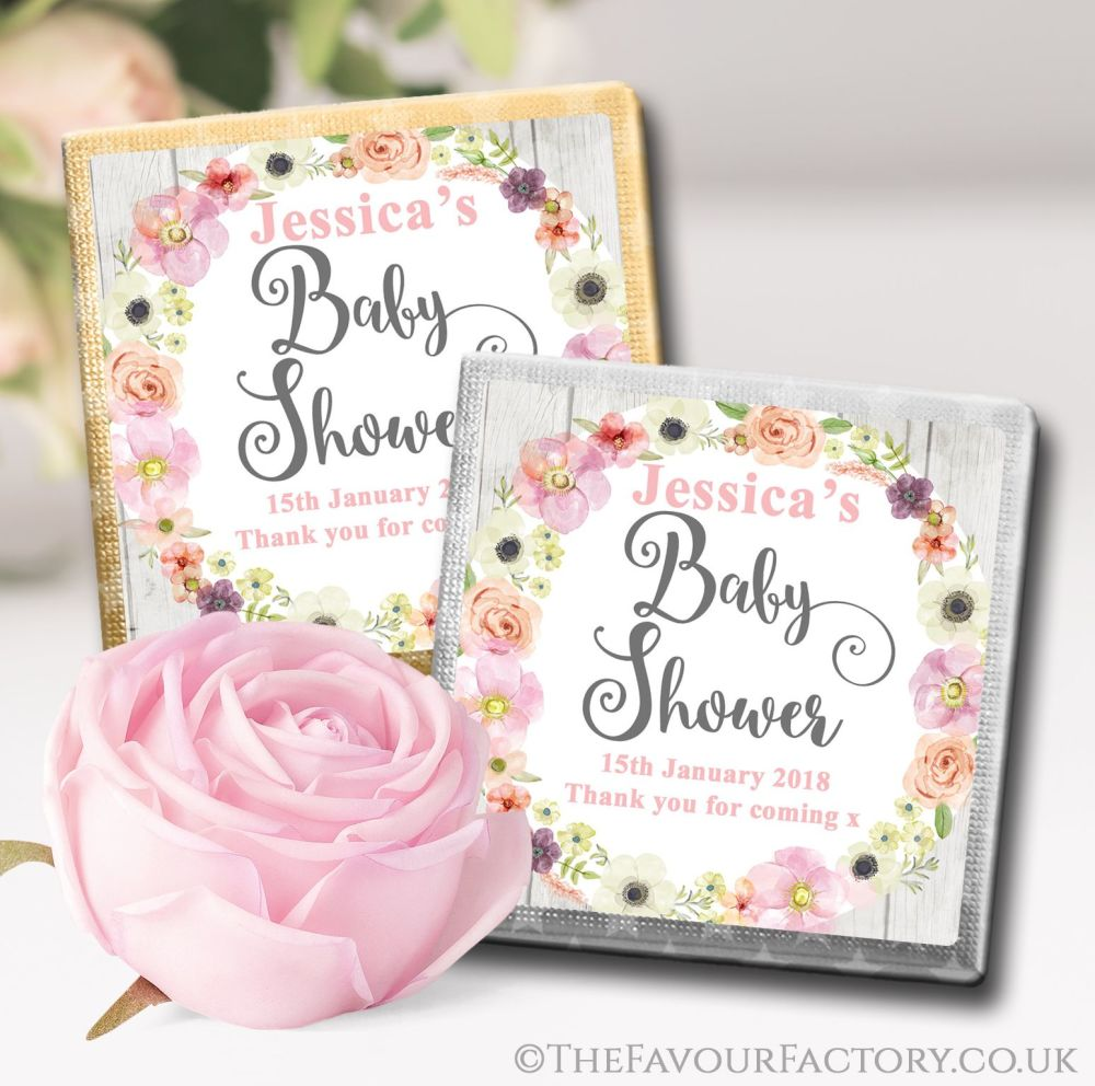 Personalised Baby Shower Chocolates Favours Watercolour Flowers