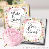 Baby Shower Chocolates Blush Flowers x10