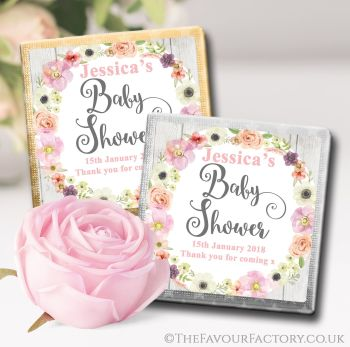 Baby Shower Chocolates Favours Watercolour Flowers x10
