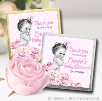 Baby Shower Chocolates Favours Vintage Baby Girl x10