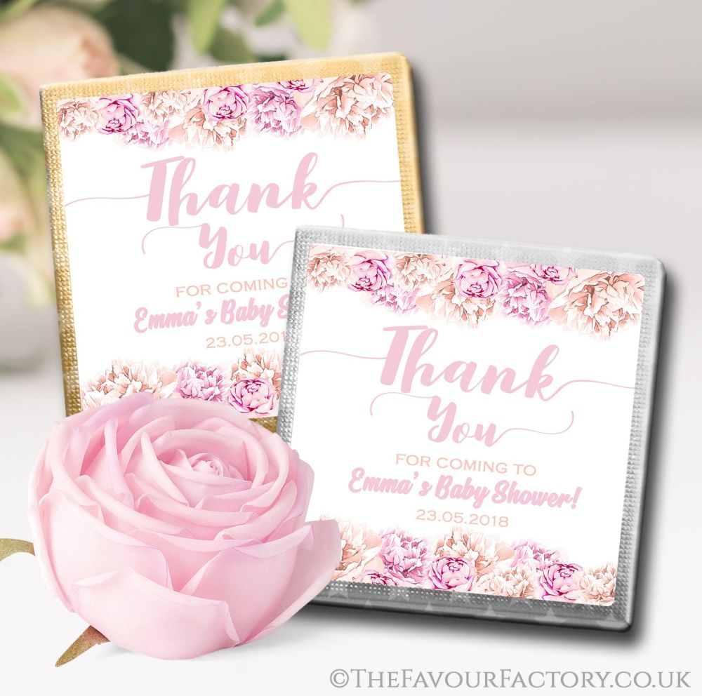 Personalised Baby Shower Chocolates Favours Pink Flowers