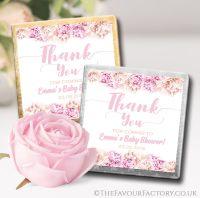 Baby Shower Chocolates Pink Flowers x10