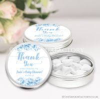 Thank You Floral Blue Baby Shower Favour Tins x1