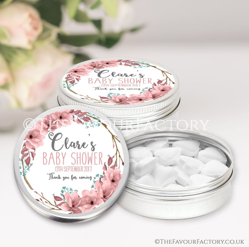 Boho Floral Wreath Baby Shower Favour Tins x1