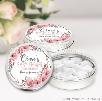 Baby Shower Favours Keepsakes Tins Personalised Boho Floral Wreath x1