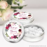 Blush Burgundy Floral Baby Shower Favour Tins x1