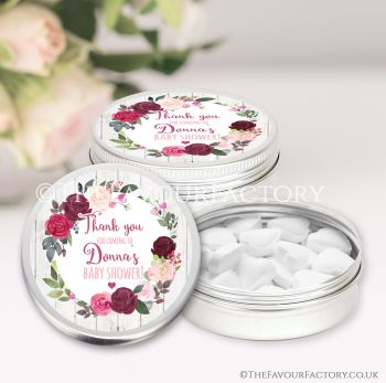 Baby Shower Favours Keepsakes Tins Blush Burgundy Floral Wreath x1