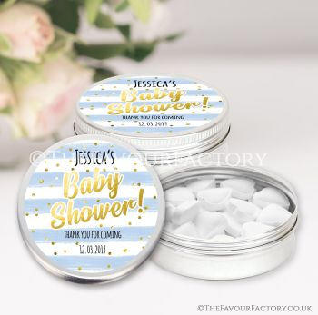Baby Shower Favours Keepsakes Tins Personalised Confetti Stripes Blue x1