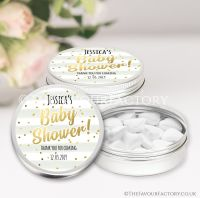 Confetti Stripes Baby Shower Favour Tins x1
