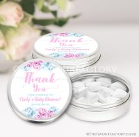 Thank You Floral Pink & Blue Baby Shower Favour Tins x1