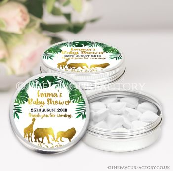 Baby Shower Favours Keepsakes Tins Personalised Gold Safari Animals x1