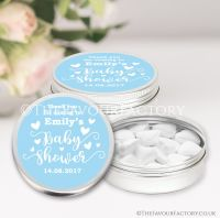 Love Hearts Blue Baby Shower Favour Tins x1