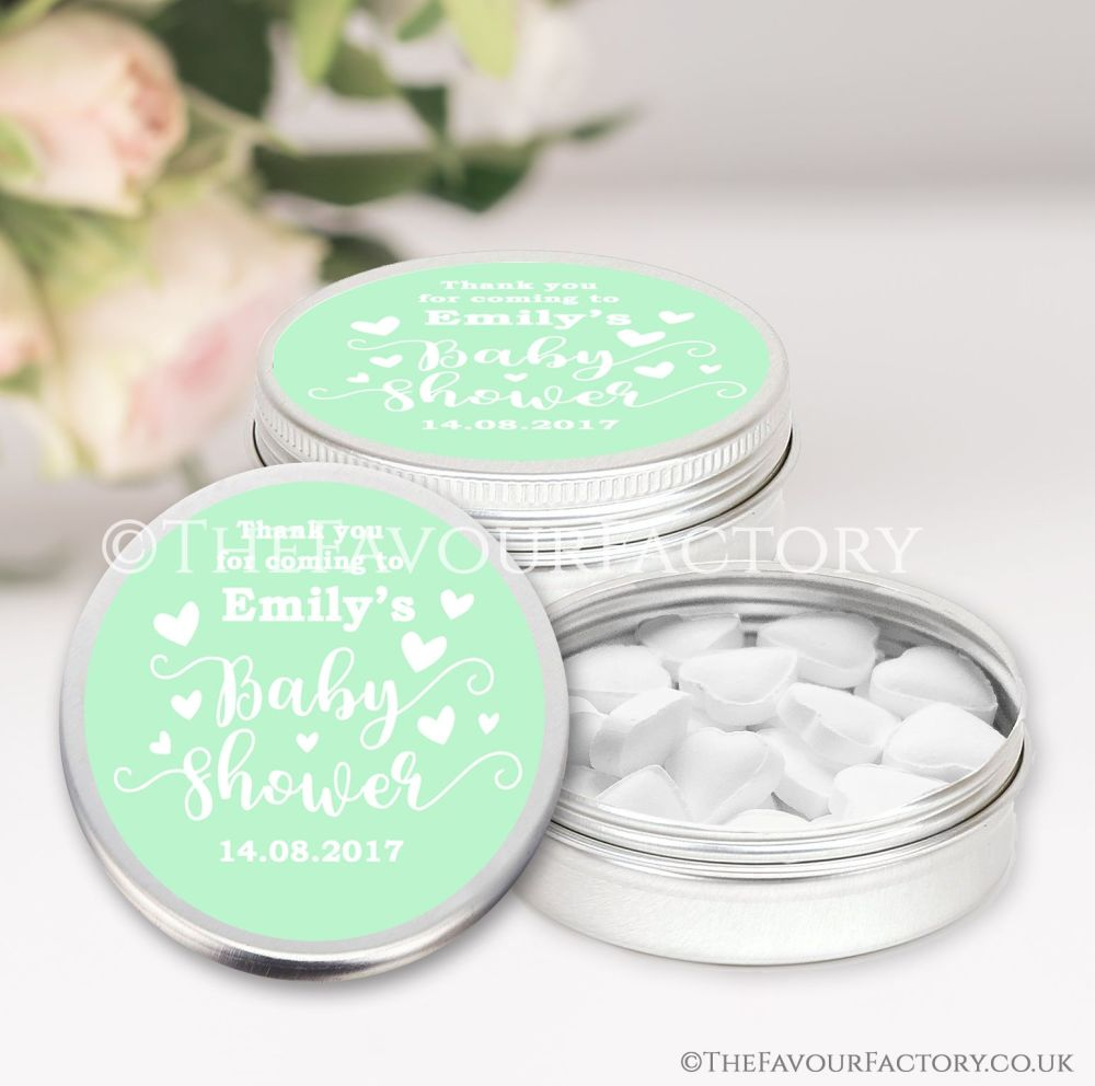 Baby Shower Favours Keepsakes Tins Personalised  x1