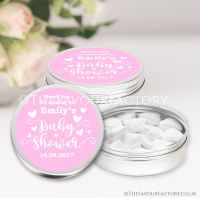 Love Hearts Pink Baby Shower Favour Tins x1