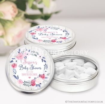 Baby Shower Favours Keepsakes Tins Personalised Midnight Rose x1