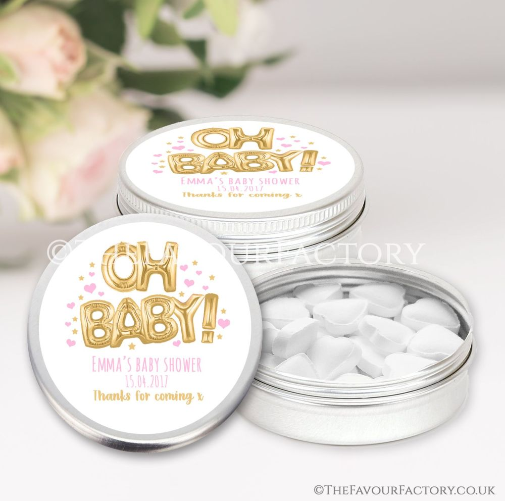 Oh Baby Gold & Pink Baby Shower Favour Tins x1
