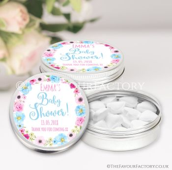 Baby Shower Favours Keepsakes Tins Personalised Pink & Blue Floral Wreath x1