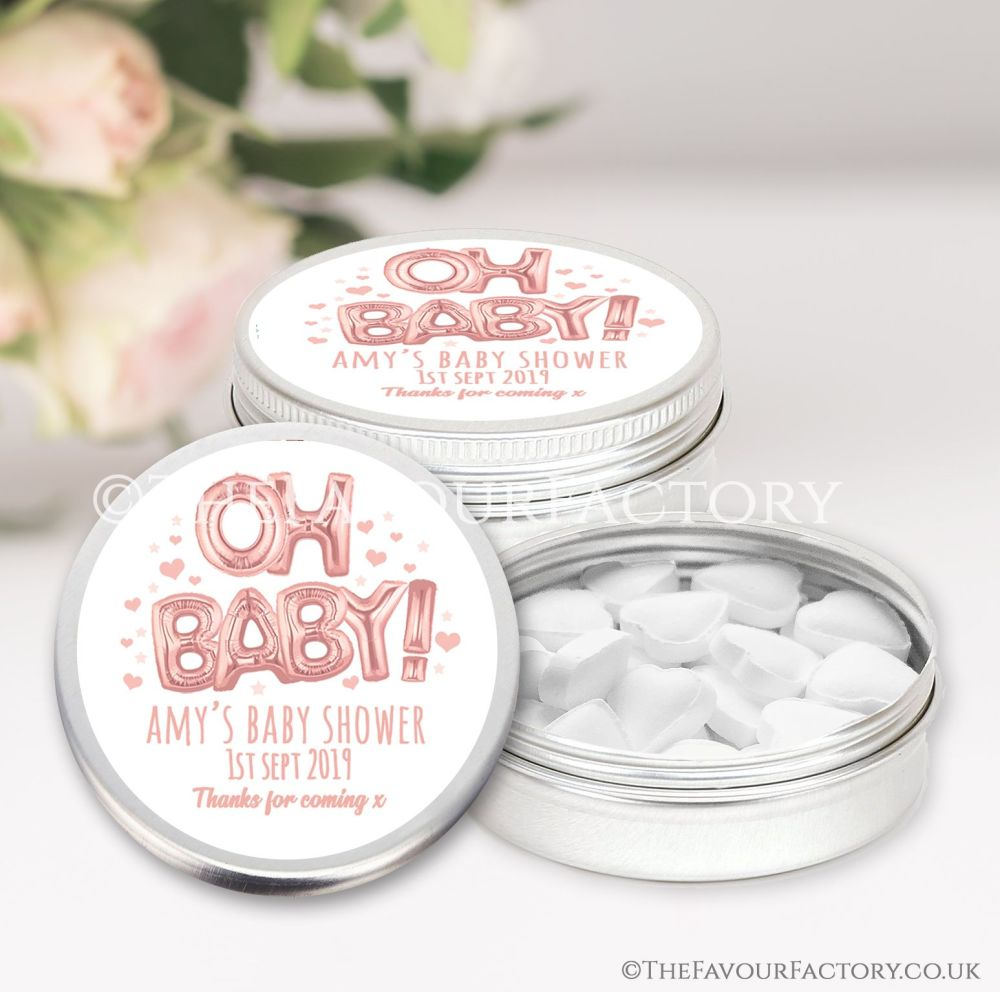 Oh Baby Rose Gold Baby Shower Favour Tins x1