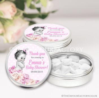 Baby Shower Favours Keepsakes Tins Personalised Vintage Baby Girl x1