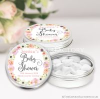 Watercolour Flowers Baby Shower Favour Tins x1