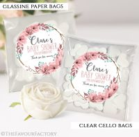 Baby Shower Party Favours Sweet Bags Boho Floral Wreath x12